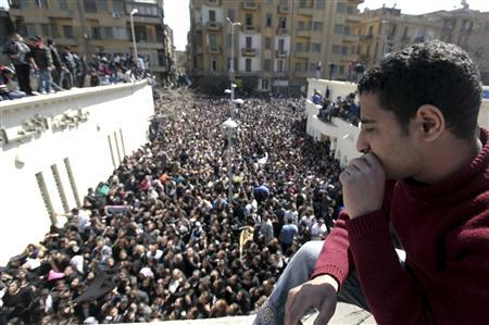 Egyptian Christians gather to mourn the death of Pope Shenouda III, the head of Egypt's Coptic Orthodox Church, outside the Abassiya Cathedra in Cairo March 18, 2012. REUTERS-Mohamed Abd El Ghany