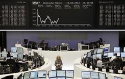 <p>Les Bourses européennes cèdent du terrain à la mi-séance après les plus hauts de près de huit mois touchés la semaine dernière. A Paris, le CAC 40 abandonne 0,62% à 3.572,69 points. A Francfort, le Dax cède 0,6% et à Londres, le FTSE recule de 0,35%. L'indice paneuropéen Eurostoxx 50 perd 0,38% /Photo prise le 19 mars 2012/REUTERS/Remote/Sonya Schoenberger</p>