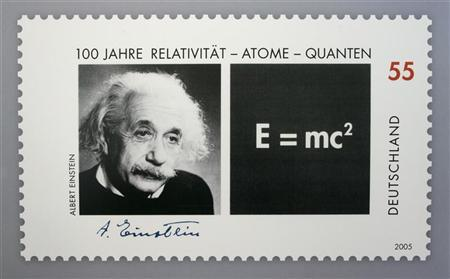Picture shows a German 55 euro cents special edition stamp commemorating the the 100th anniversary of the publication of late German-born physicist Einstein's Theory of Relativity in Berlin. Picture shows a German 55 euro cents special edition stamp commemorating the the 100th anniversary of the publication of late German-born physicist Albert Einstein's Theory of Relativity in Berlin June 15, 2005. REUTERS/Arnd Wiegmann