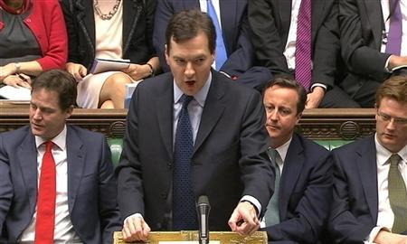 A video grab image shows Chancellor of the Exchequer, George Osborne, delivering the annual budget to the House of Commons in central London March 21, 2012. REUTERS/Parbul TV via Reuters TV