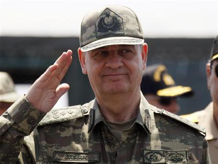 Turkish Chief of Staff General Ilker Basbug salutes during the EFES-2010 military exercise in Izmir May 26, 2010. REUTERS/ Osman Orsal