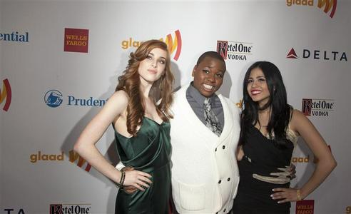 (L-R) Marissa von Bleicken, Alex Newell and Emily Vasquez of ''The Glee Project'' arrive at the 23rd annual Gay and Lesbian Alliance Against Defamation (GLAAD) Media Awards in New York March 24, 2012. REUTERS/Andrew Kelly