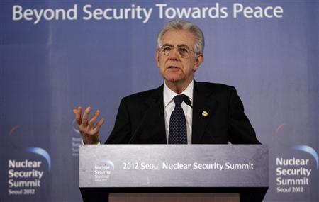 Italy's Prime Minister Mario Monti speaks during a news conference at the Nuclear Security Summit in Seoul March 27, 2012. REUTERS/Jason Lee