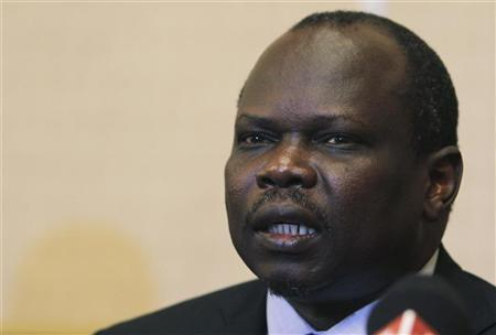 Pagan Amum, South Sudan top negotiator in the oil dispute talks with Khartoum speaks during a news conference in Ethiopia's capital Addis Ababa January 27, 2012. REUTERS/Noor Khamis