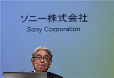 Sony Corp Chief Financial Officer Masaru Kato attends a news conference in Tokyo April 10, 2012. Sony Corp forecast a record $6.4 billion net loss for the business year just ended, double earlier forecasts and a fourth straight year of losses, inflated by writing off deferred tax assets in the United States. REUTERS/Issei Kato
