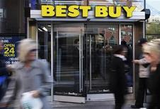 <p>The entrance to the Best Buy store is seen in New York, March 26, 2012. REUTERS/Shannon Stapleton</p>