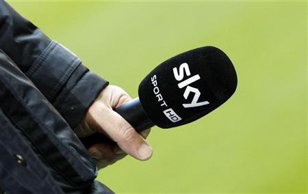 A microphone of Sky Sport TV station is seen before the German Bundesliga first division soccer match between Bayern Munich and Hoffenheim in Munich March 10, 2012. REUTERS/Michaela Rehle