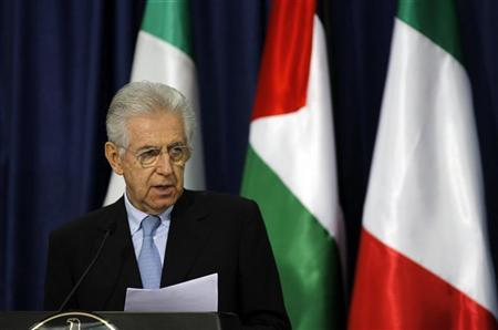 Italy's Prime Minister Mario Monti speaks during a news conference with Palestinian President Mahmoud Abbas (not pictured) in the West Bank city of Ramallah April 8, 2012. REUTERS/Mohamad Torokman
