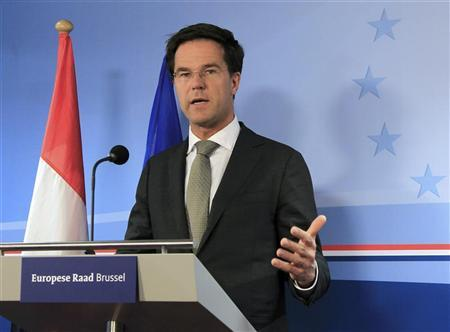 Netherlands' Prime Minister Mark Rutte holds a news conference at the end of a European Union leaders summit in Brussels March 2, 2012 . REUTERS/Yves Herman (BELGIUM - Tags: POLITICS BUSINESS)