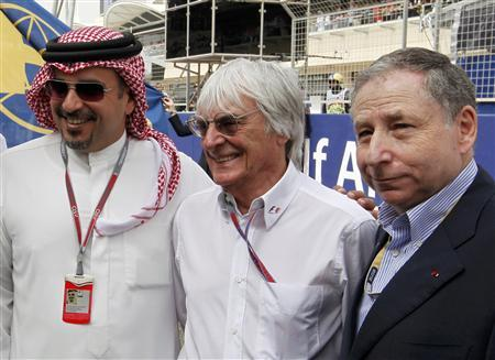 Formula One commercial supremo Bernie Ecclestone (C) poses with Crown Prince Sheikh Salman bin Hamad al-Khalifa (L) and FIA President Jean Todt before the Bahrain F1 Grand Prix at the Sakhir circuit in Manama April 22, 2012. REUTERS/Hamad I Mohammed