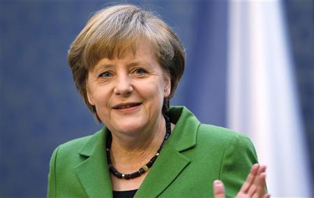 German Chancellor Angela Merkel attends a news conference at the Czech Government headquarters in Prague April 3, 2012. REUTERS/Petr Josek
