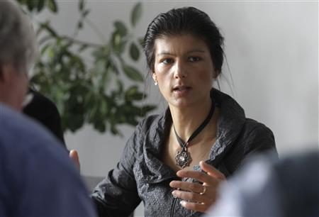 Board member of Germany's left-wing Die Linke party Sahra Wagenknecht gives a Reuters interview in Berlin, April 24, 2012. REUTERS/Tobias Schwarz