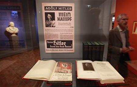 Copies of Adolf Hitler's book ''Mein Kampf'' (My Struggle) are pictured at the media preview of ''Hilter und die Deutsche Volksgemeinschaft und Verbrechen'' (Hitler and the German Nation and Crime) at the Deutsche Historisches Museum (German Historical Museum) in Berlin October 13, 2010. REUTERS/Fabrizio Bensch
