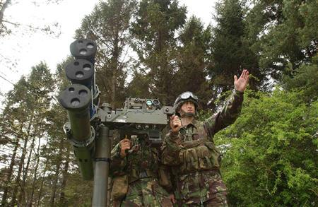 British Army troops operate the Starstreak HVM (high Velocity Missile) air defence system in an undated photo released in London April 30, 2012.REUTERS/MoD/Crown Copyright/handout