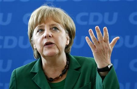 German Chancellor and Christian Democratic Union (CDU) party leader Angela Merkel gestures before a party board meeting in Berlin, May 7, 2012. REUTERS/Fabrizio Bensch