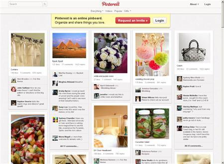 A screen grab of Pinterest.com's home page. Social networking site Pinterest has raised $100 million from a group of investors led by Japanese online retailing giant Rakuten Inc in a deal that reportedly values the three-year-old U.S. company at $1.5 billion. REUTERS/www.pinterest.com/handout