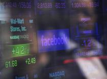 <p>Facebook a fixé le prix de son entrée en Bourse vendredi sur le Nasdaq à 38 dollars l'action, ce qui valorise le groupe jusqu'à 104 milliards de dollars et annonce la troisième plus grosse introduction en Bourse de l'histoire des Etats-Unis. /Photo prise le 17 mai 2012/REUTERS/Keith Bedford</p>