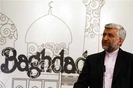 Iran's chief negotiator Saeed Jalili addresses a news conference after a meeting in Baghdad, May 24, 2012. REUTERS/Thaier al-Sudani