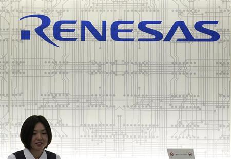 The logo of Renesas Electronics is seen at its headquarters in Tokyo February 8, 2012. REUTERS/Kim Kyung-Hoon