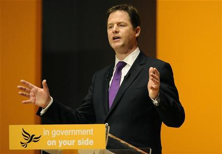 Britain's Deputy Prime Minister and leader of the Liberal Democrats, Nick Clegg, delivers his speech to delegates on the final day of the party's conference in Gateshead, northern England March 11, 2012. REUTERS/Nigel Roddis