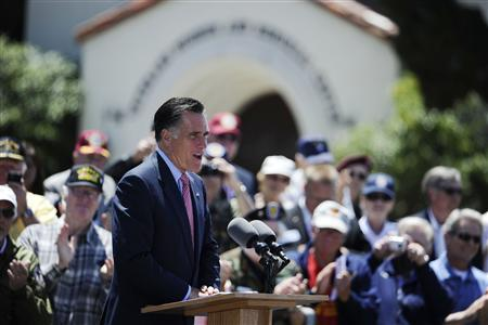 Mitt Romney, U.S. Republican presidential candidate and former Massachusetts governor, speaks during a memorial day ceremony held at the Veterans Museum & Memorial Center in San Diego, California May 28, 2012. REUTERS/Denis Poroy