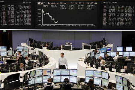 Traders are pictured at their desks in front of the DAX board at the Frankfurt stock exchange June 1, 2012. REUTERS/Remote/Marte Kiessling