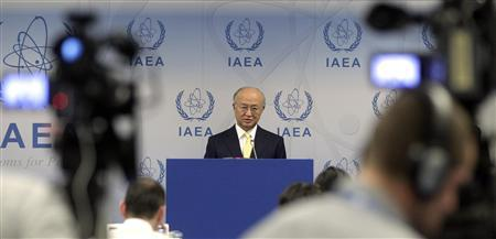 Yukiya Amano attends a news conference during board of governors meeting at the United Nations headquarters in Vienna June 4, 2012. REUTERS/Herwig Prammer