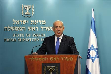 Israel's Prime Minister Benjamin Netanyahu gives a statement to the media at his Jerusalem office June 6, 2012. REUTERS/Ronen Zvulun