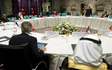 World diplomats attend a ''Friends of Syria'' meeting at the Dolmabahce Palace in Istanbul June 6, 2012. REUTERS/Saul Loeb/Pool