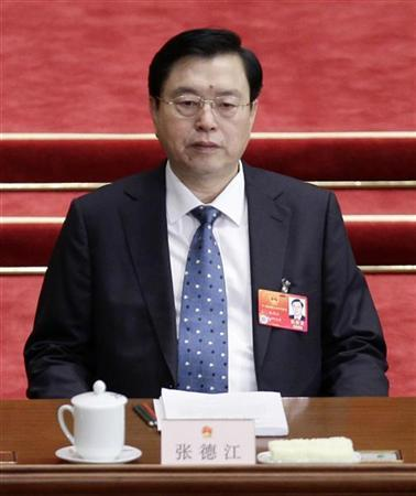 China's Vice Premier Zhang Dejiang attends a plenary meeting of the National People's Congress (NPC), China's parliament, at the Great Hall of the People in Beijing, March 8, 2012. REUTERS/Jason Lee