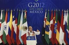 <p>Le président mexicain Felipe Calderon lors de l'inauguration de la réunion du G20 prévue lundi et mardi à Los Cabos, au Mexique. Les dirigeants des grandes puissances économiques mondiales, soulagés par le résultat des élections en Grèce, vont y mettre pendant deux jours l'Europe sous pression pour qu'elle résolve la crise de la dette, qui dure depuis plus de deux ans. /Photo prise le 16 juin 2012/REUTERS</p>