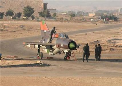 A handout picture obtained from Ammon News and released by Syrian activists, shows a Syrian MiG-21 fighter plane after the pilot landed at the King Hussein military air base, 80 km (50 miles) northeast of Amman, June 21, 2012. REUTERS/AmmonNews/Handout
