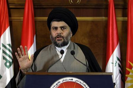 Iraqi Shiite cleric Moqtada al-Sadr speaks during a news conference in Arbil, about 350 km (220 miles) north of Baghdad April 26, 2012. REUTERS/Azad Lashkari