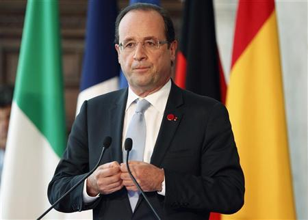 French President Francois Hollande attends a news conference at Villa Madama in Rome, June 22, 2012. REUTERS/Giampiero Sposito