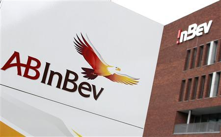 View of Anheuser-Busch InBev logo outside the brewery headquarters in Leuven June 25, 2012. Anheuser-Busch InBev, the world's biggest brewer and maker of Budweiser and Stella Artois beers, is in talks to buy the 50 percent of Corona beer maker Grupo Modelo that it does not already own, said a person familiar with the matter - in a potential deal that could top $10 billion. REUTERS/Francois Lenoir