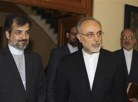 Iranian Foreign Minister Ali Akbar Salehi (R) is seen in Nicosia June 26, 2012. REUTERS/Andreas Manolis