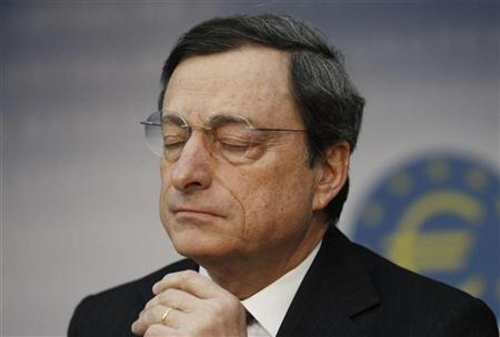 The European Central Bank (ECB) President Mario Draghi reacts during the monthly news conference in Frankfurt, February 9, 2012. REUTERS/Alex Domanski