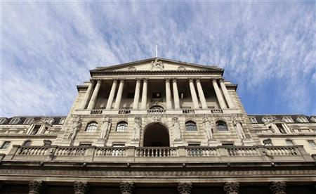The Bank of England is seen against a blue sky in the City of London October 6, 2011. REUTERS/Suzanne Plunkett