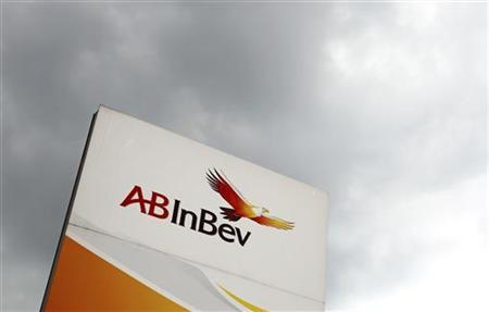 View of Anheuser-Busch InBev logo outside the brewery headquarters in Leuven June 25, 2012. REUTERS/Francois Lenoir