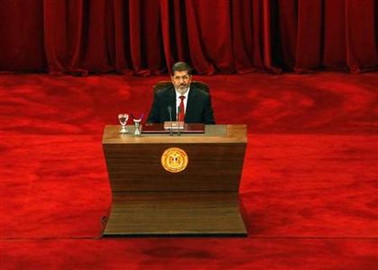 Egypt's new President Mohamed Mursi is pictured before his speech at Cairo University June 30, 2012. REUTERS/Stringer