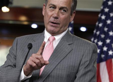 U.S. House Speaker John Boehner (R-OH) gestures at a news conference on President Barack Obama's signature healthcare law on Capitol Hill in Washington June 28, 2012. REUTERS/Yuri Gripas