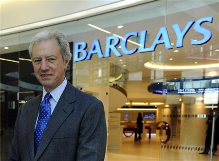 Barclays Chairman Marcus Agius poses at a bank branch near their Canary Wharf headquarters in London in this September 7, 2010 file photo. REUTERS/Dylan Martinez/files