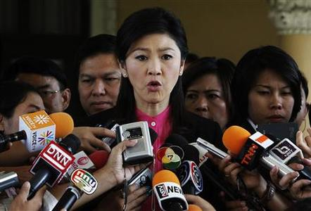 Thailand's Prime Minister Yingluck Shinawatra addresses reporters at the Government house in Bangkok July 2, 2012. REUTERS/Sukree Sukplang