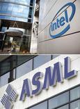 <p>Intel et ASML ont passé un accord par lequel le leader mondial des microprocesseurs consacrera au total 4,1 milliards de dollars à financer les programmes de recherche de la société néerlandaise et à prendre une première participation de 10% dans son capital. /Photos d'archives/REUTERS/Nir Elias/Robin van Lonkhuijsen/United Photos</p>