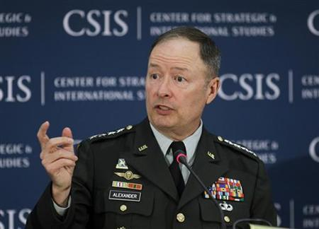 General Keith Alexander, Director of the NSA and Commander of U.S. Cyber Command speaks about cyber security and USCYBERCOM at the Center for Strategic and International Studies (CSIS) in Washington, June 3, 2010. REUTERS/Hyungwon Kang