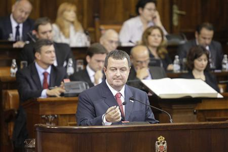 Serbia's prime minister designate Ivica Dacic speaks to members of the parliament in Belgrade July 26, 2012. REUTERS/Stringer
