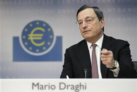 Mario Draghi, President of the European Central Bank (ECB), addresses the media during his monthly news conference at the ECB headquarters in Frankfurt, July 5, 2012. REUTERS/Alex Domanski