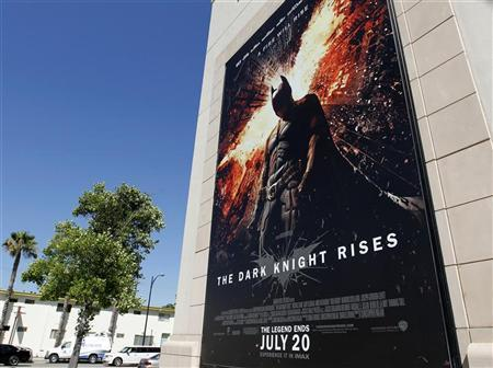 A poster for the Warner Bros. film ''The Dark Knight Rises'' is displayed at Warner Bros. studios in Burbank, California, July 20, 2012. REUTERS/Fred Prouser