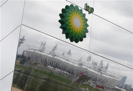 The Olympic Stadium is reflected on a temporary structure sponsored by BP at the Olympic Park in Stratford, the location of the London 2012 Olympic Games, in east London July 18, 2012. REUTERS/Suzanne Plunkett