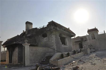 A damaged house is seen in Idlib July 31, 2012. Picture taken July 31, 2012. REUTERS/Shaam News Network/Handout